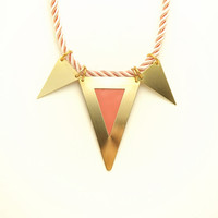 Geometric Triple Triangle Necklace - Pastel Peach Pink Hand Painted Modern Raw Brass Jewelry  - Twisted Cord