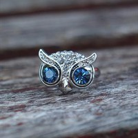 Cute Big Eye Owl Open Ring Silver 739 from topsales