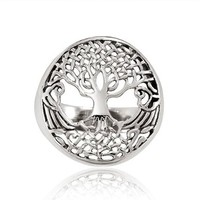 Chuvora 925 Sterling Silver 18 mm Detailed Celtic Tree of Life with Root Round Shape Band Ring for Women - Nickel Free:Amazon:Jewelry