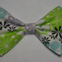 Green purple and blue floral fabric hair bow clip, Hair clips for kids and teens, hair clips for women, small hair bows