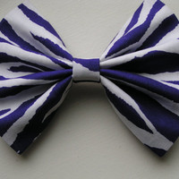 Zebra pattern hair bow for kids, bows for teens women children, Purple and White Hair Bows, Fabric Hair Bow Clips