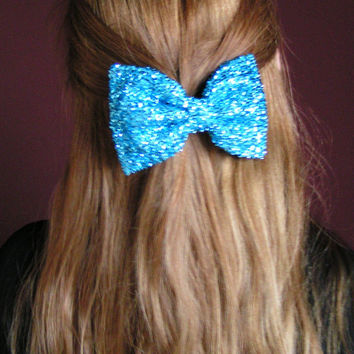 Aqua blue metallic Hair Bow, Large hair bow, Large Hair Bow for teens and women, Kids hair bows