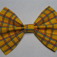 Yellow Blue and Red plaid fabric hair bow clip, Hair clips for kids and teens, hair clips for women, small hair bows