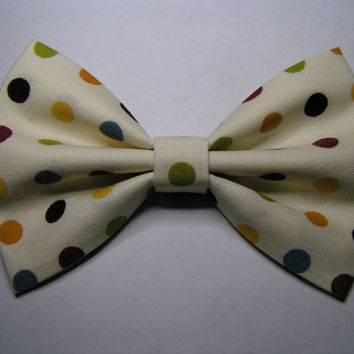 Hair bow with polka dots, hairbow, hair bows for girls, ivory bow, classy, vintage bows