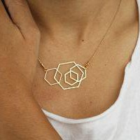 wild thing HEXAGONS golden pendant by kerenasaf on Etsy