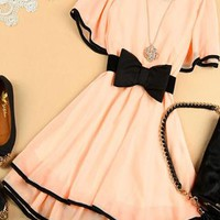 Elegant Sweet Bowknot Shirred Chiffon Dress