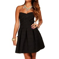 Black Rubber Band Texture Skater Dress