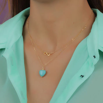 """Double strand necklace, gold infinity necklace, turquoise heart necklace, silver infinity necklace, eternity necklace, wedding, """"Hebe"""