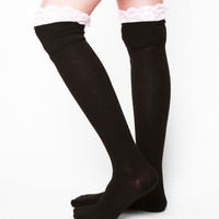K. Bell Enchanted Lace Over The Knee Socks - Black