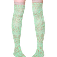 K. Bell Highland Texture Over The Knee Socks - Green / Brown
