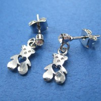 ONE DOLLAR SALE - Teddy Bear Earrings with Heart Cut Out Details