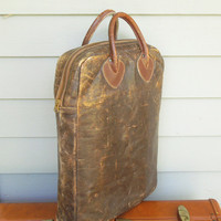 Vintage LL Bean leather tote - Distressed LL Bean zippered tote - Vintage brown LL Bean leather tote