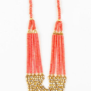 Rock Candy Bib Necklace in Coral :: tobi