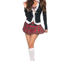 Amour Women's Naughty School Costume Set Bra Top + Skirt + Coat
