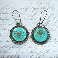 $23.00 Real Flower Earrings  Resin Jewelry Mint by NaturalPrettyThings
