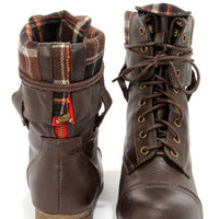 Bamboo Surprise Brown Lace-Up Convertible Combat Boots