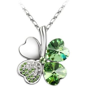 White Gold Plated Swarovski Crystal Heart Leaf Clover Pendant Necklace:Amazon:Clothing