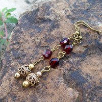 Bohemian Holiday Dangle Earrings - Red