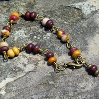 Rum - Wire Wrapped Link Bracelet - earthy tones of burgundy and golden yellow interlaced with creamy beige and white
