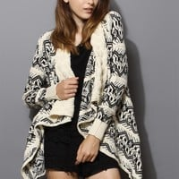 Aztec Knit Loose Drape Cardigan in Beige