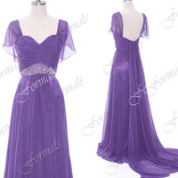 Straps Sweetheart with Beaded Purple Chiffon Long Prom Dresses, Long Evening Dresses, Wedding party Dresses, with Removable Train