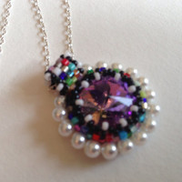 Cute Necklace, Rivoli Necklace, Rainbow Necklace, Back To School, Crystal Pendant