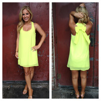 Neon Yellow Bow Back Tank Dress
