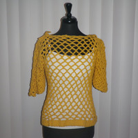 Yellow mesh crochet woman's top, beach cover up