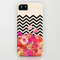 Chevron Flora II iPhone & iPod Case by Bianca Green