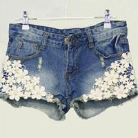 Pearl lace flower broken copper jean shorts from cassie2013