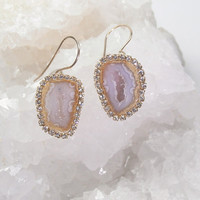 Tabasco Geode Earrings Druzy Cream Slice Earrings Diamond Look