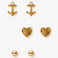 Bead, Heart & Anchor Stud Set | FOREVER 21 - 1045482821
