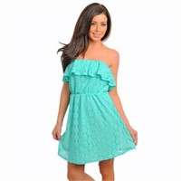 Mint Green Lace Strapless High Waist Ruffle Top Lightweight Dress (CL03168)