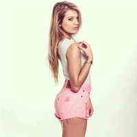 Highwaisted Pink Distressed Studded shorts
