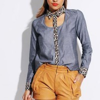 Animal Print Cut Out Blue Chambray Blouse