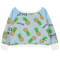 Pineapple Print Long Sleeve Sweatershirt