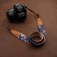 Floral DSLR Leather Camera Strap