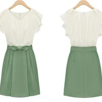 Bowknot Chiffon Dress for Women
