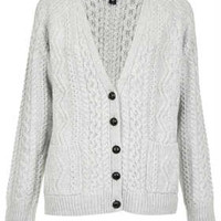 Knitted Angora Cable Cardi - New In This Week  - New In