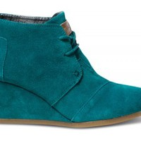 Lake Green Suede Women's Desert Wedges