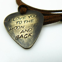 I Love You To The Moon And Back Guitar Pick Necklace by PickMyPick