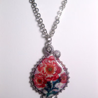 Red Cactus Flower Pendant Necklace