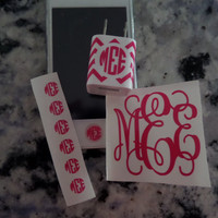 """Monogram iPhone set - Home button, 2"""" monogram, and iPhone charger wrap"""