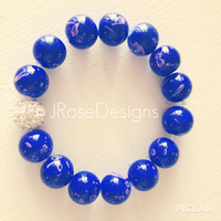 Bright Blue - Shamballa - Stretch Bracelet
