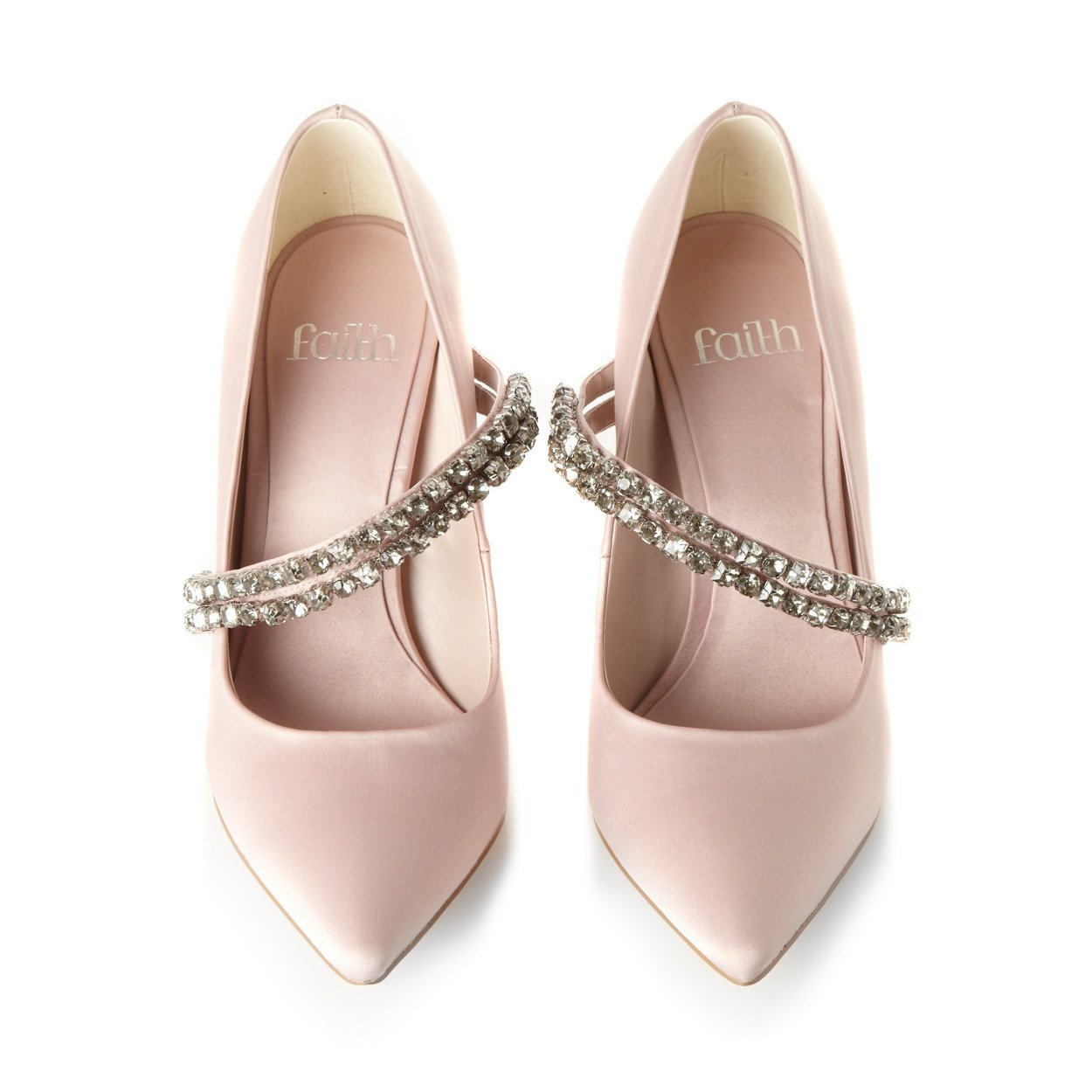 pale pink satin beaded high court shoes from debenhams