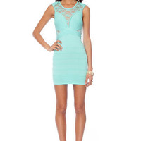 Rib and Laced Bandage Dress in Mint :: tobi