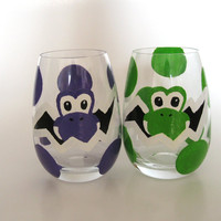 Yoshi Egg Glass Set of 2 hand painted Mario by BasementInvaders
