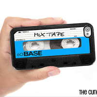 iPhone Case Mix Tape Cassette Tape Blue Black / Hard Case For iPhone 4 and iPhone 4S Retro 80's Style  Rubber Trim