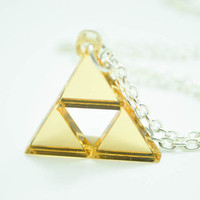 Zelda Golden Triforce Necklace/Pendant or Earrings Cosplay Jewelry
