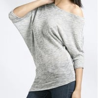 Lurex Asymmetrical Dolman Top - Short Sleeves - TOPS A'GACI